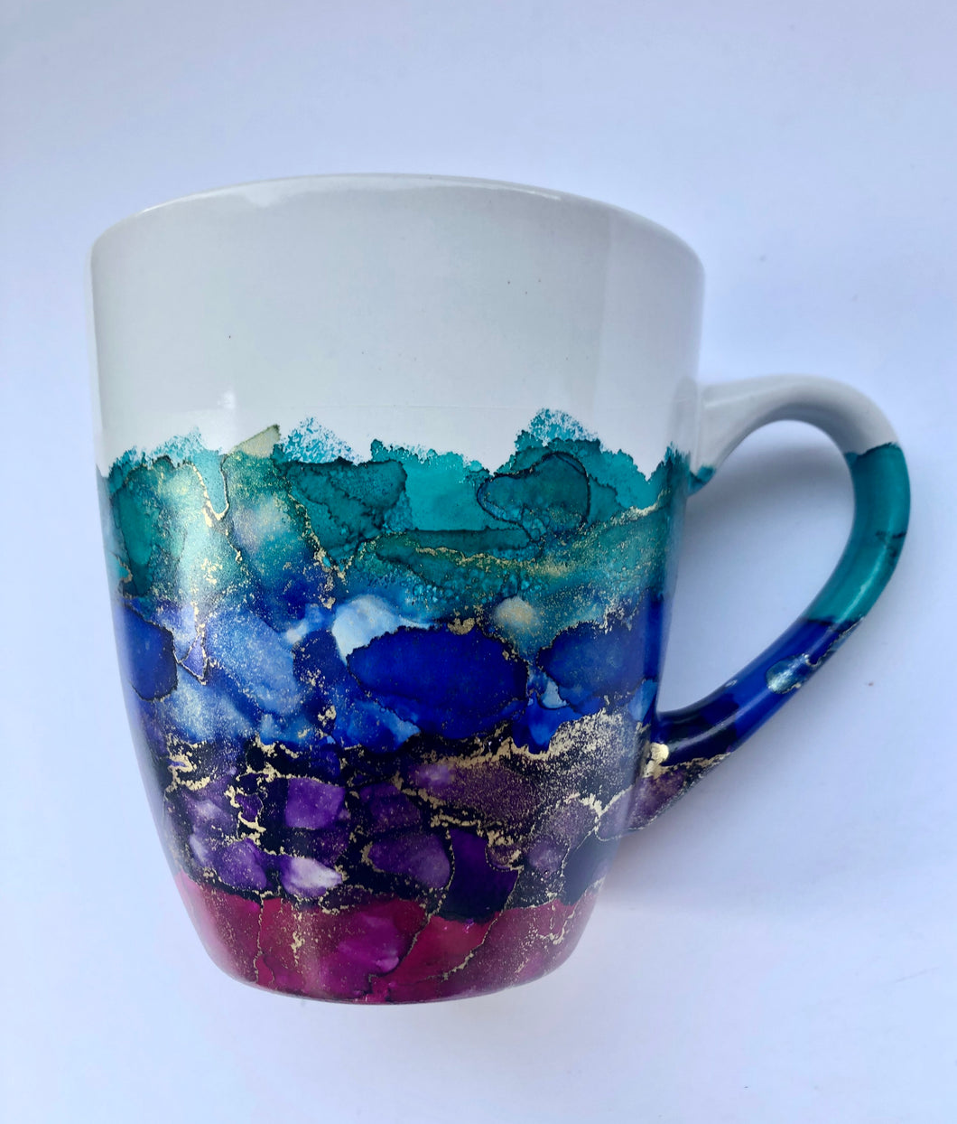 ALCOHOL INK MUG- Multi-Color/Gold 2