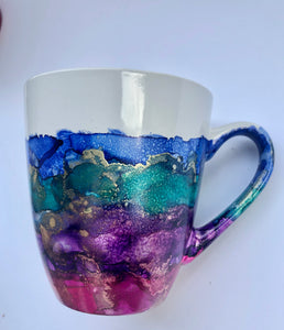 ALCOHOL INK MUG- Multi-Color/Gold