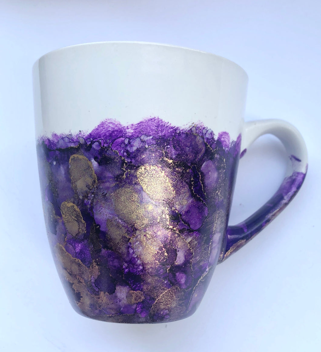ALCOHOL INK MUG- Purple/Gold