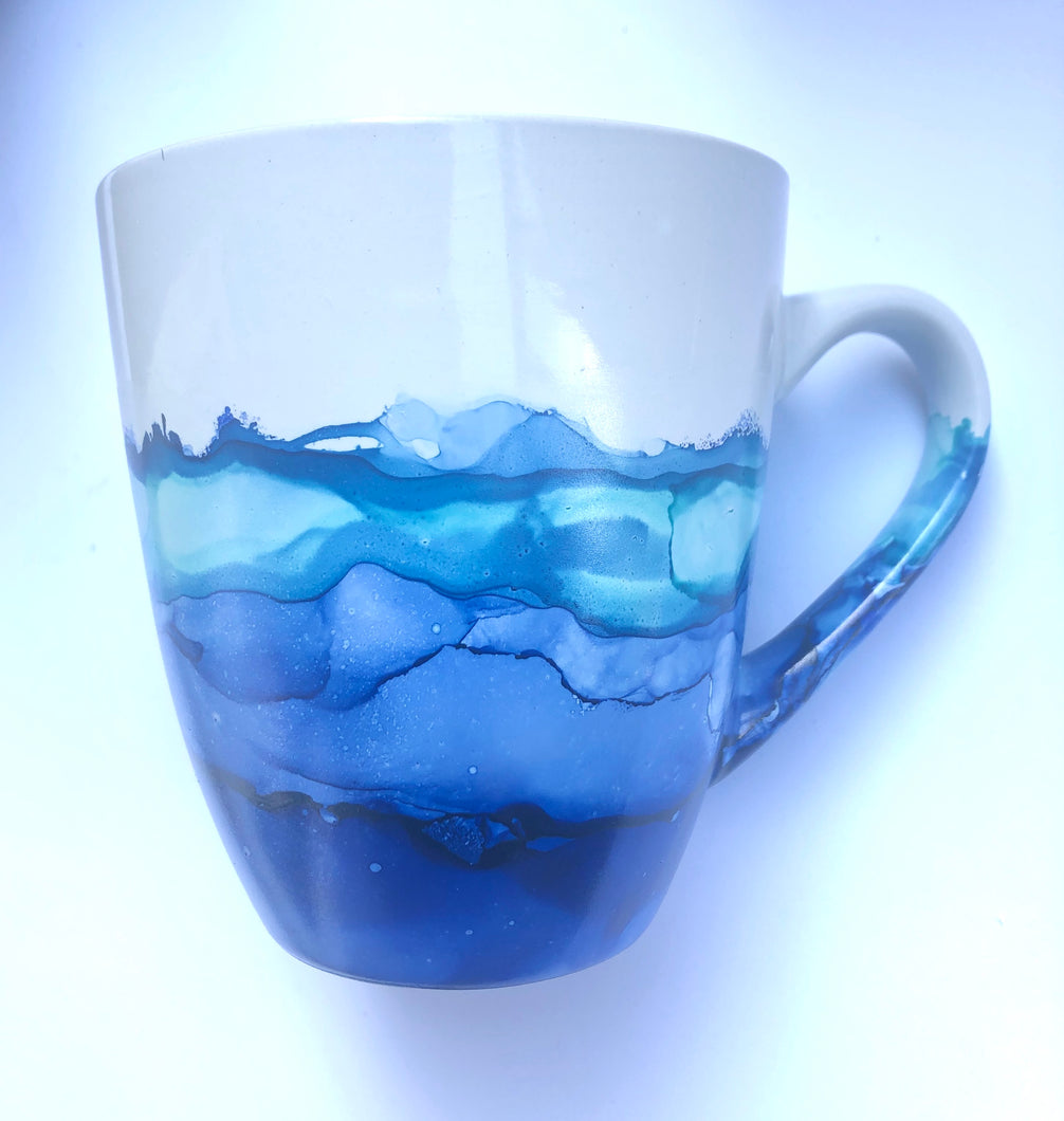 ALCOHOL INK MUG- The Blues