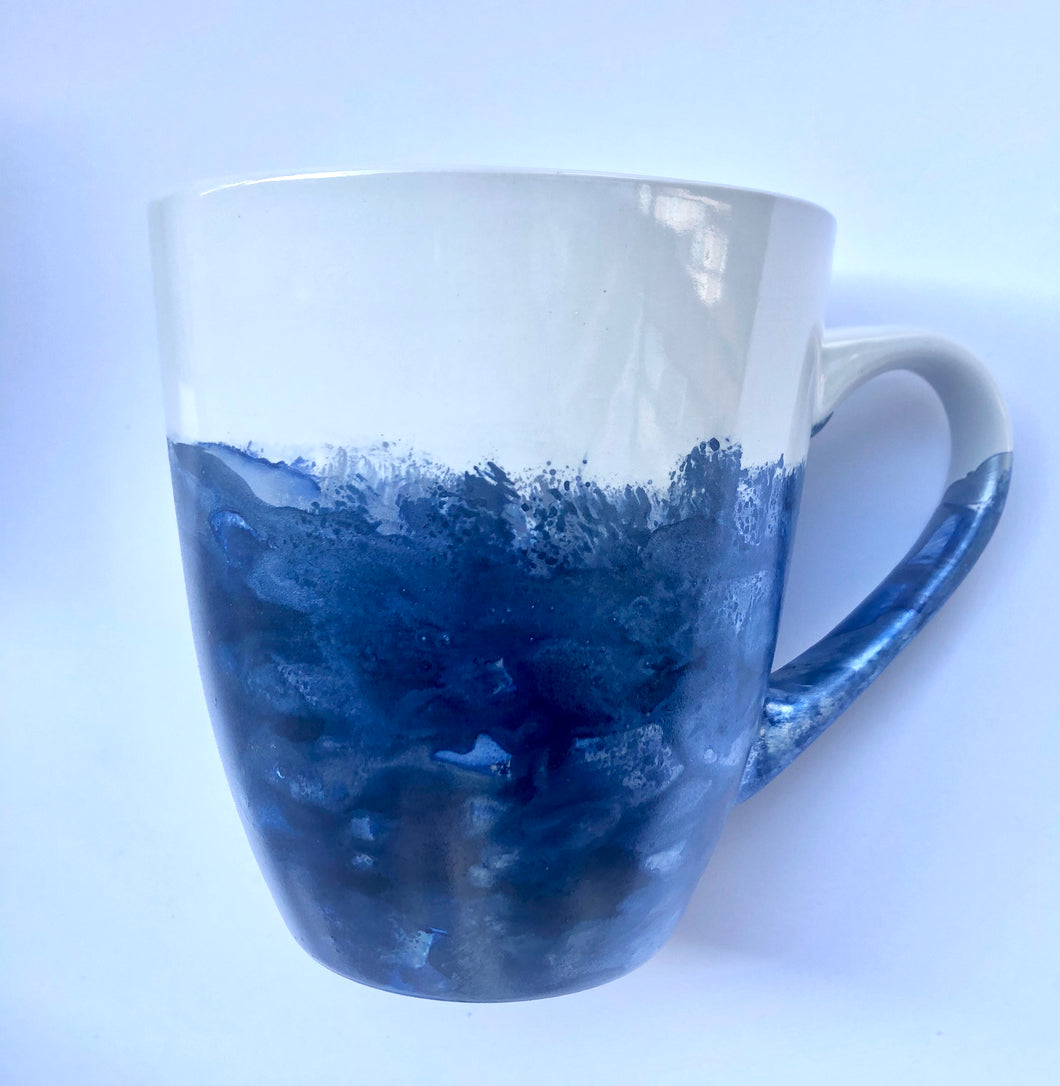 ALCOHOL INK MUG- Blue & Silver Swirl