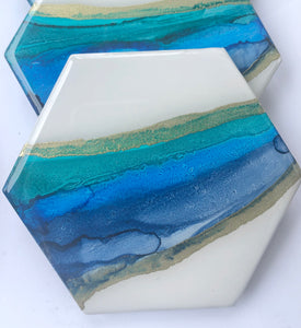 Set of Four (4) Ceramic Coasters