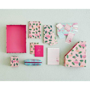 sara miller stationery set with flower and leaf pattern on a pink background