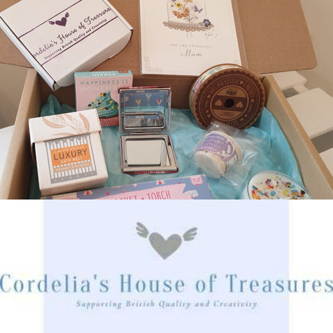 contents of best monthly subscription boxes by Cordelias house of treasures and logo