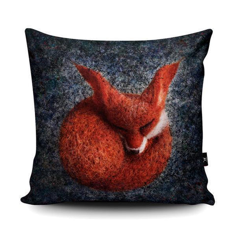 blue mr fox cushion in plush velvet house warming gifts - cordelia's house of treasures