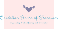 a logo of cordelias house of treasures the home of british gifts in pink and cream