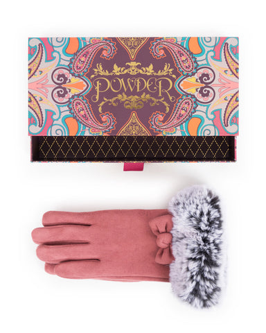 powder pink gloves and gift box - cordelias house of treasures powder stockist shropshire