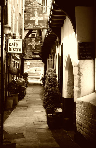 Shrewsbury side alley shops in black and white