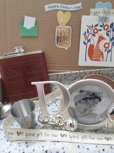 Father's Day gift hip flask and silver tone frame