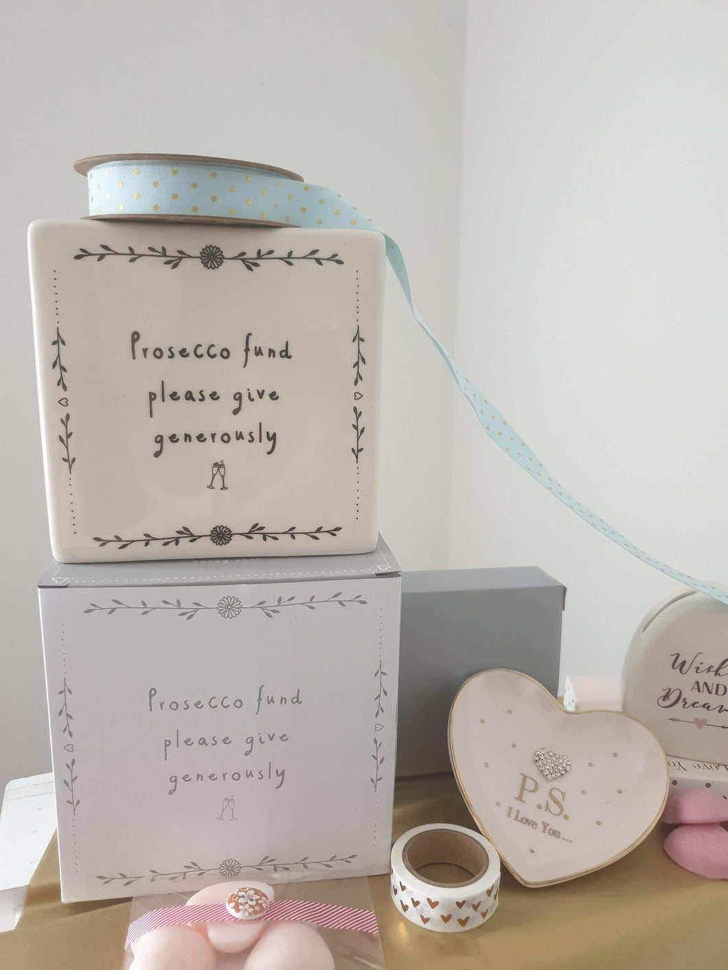 Prosecco fund ceramic money box - Cordelia's House of Treasures