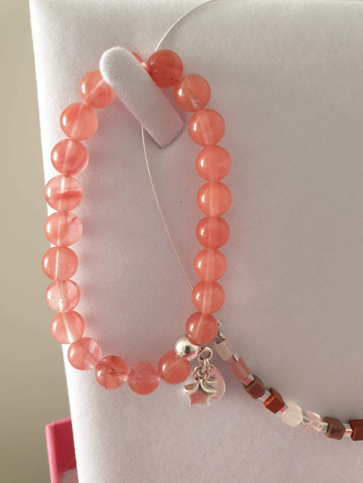 Cherry quartz bracelet by Carrie Elspeth