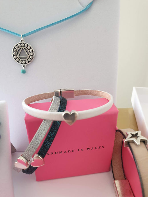 funky leather and silver bracelets