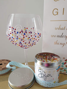 beautiful gin glass and gin queen candle