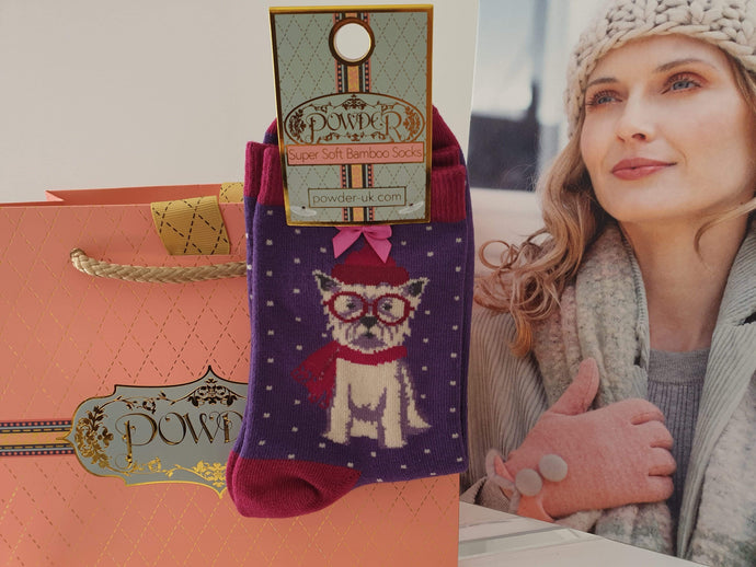 Adorable Westie Ankle Sock for Women. Powder, Scotland. Bamboo soft. - Cordelia's House of Treasures