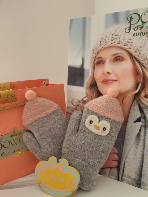 winter warmers for kids, mittens for kids, penguin gloves