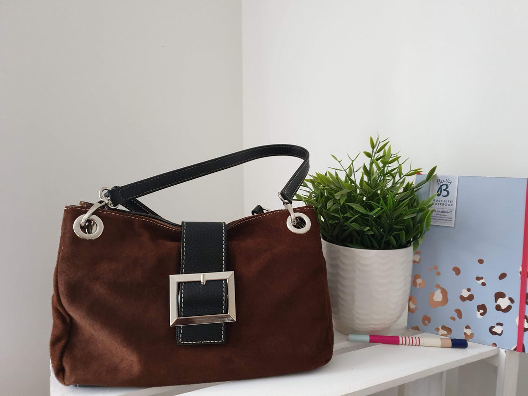 Chocolate Suede shoulder bag with Buckle Detail - Cordelia's House of Treasures