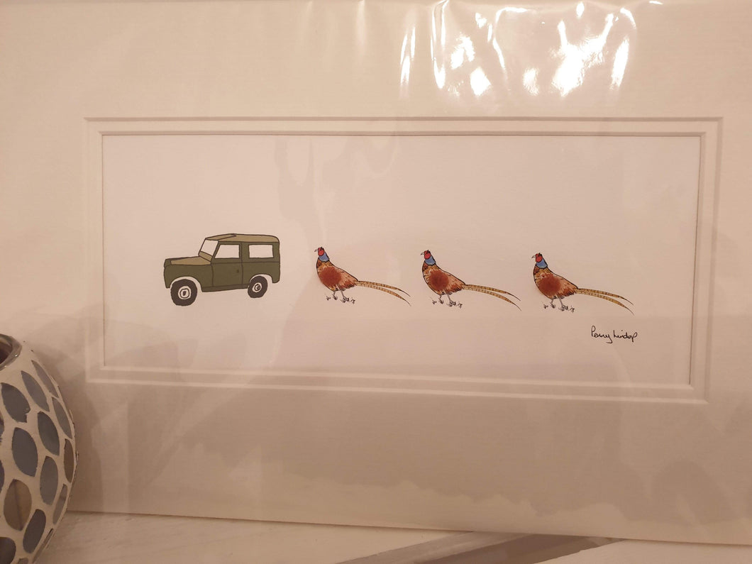 Landrover and Three Pheasant mounted print by Penny Lindop - Cordelia's House of Treasures
