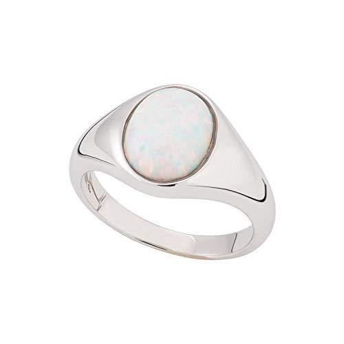 Scream Pretty - Sterling Silver White Opal Signet Ring - Size N (7) Medium