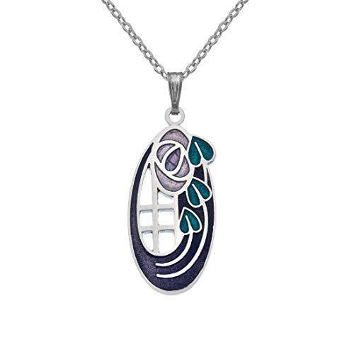 Sea Gems Rennie Mackintosh Fine Enamel Roses & Leaves Oval Necklace - 7318 (Purple)