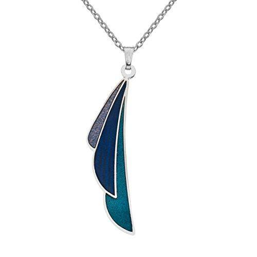 Sea Gems Rennie Mackintosh Fine Enamel Plume Necklace - 7341 (Blue)