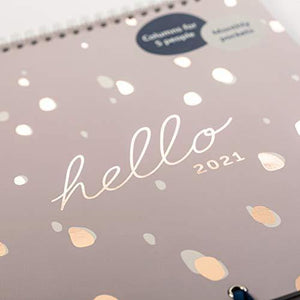Busy B Family Calendar January to December 2021. Pink/Gold Spot Month to View Calendar with 6 Columns for family members & birthdays, Monthly Pockets, Stickers & Holiday Planner