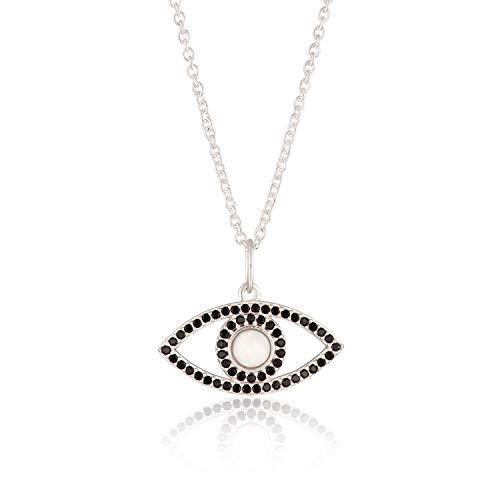 Scream Pretty - Silver Plated White Opal Eye Necklace with Slider Clasp and Black Nano Stones