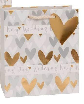 Medium Gift Bag ~ Wedding Day ~ Silver & Gold Love Hearts