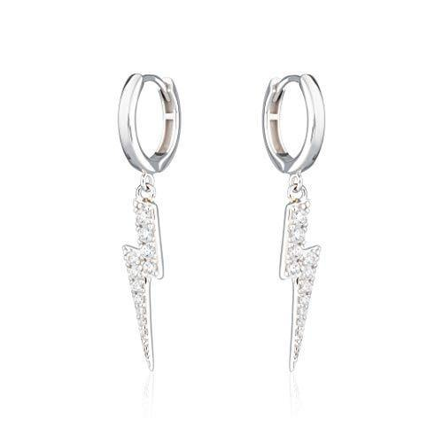 Scream Pretty - Sterling Silver Sparkling Lightning Hoop Earrings
