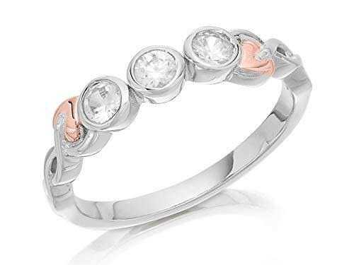 Elegant Clogau Silver And 9ct Rose Gold Cubic Zirconia Ring Size P