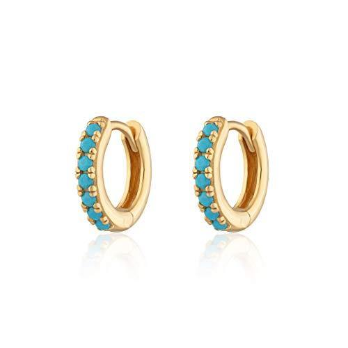 Scream Pretty - Gold Plated Huggie Hoop Earrings With Turquoise Stones