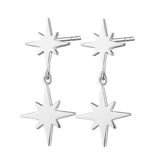Scream Pretty - Sterling Silver Double Star Drop Stud Earring