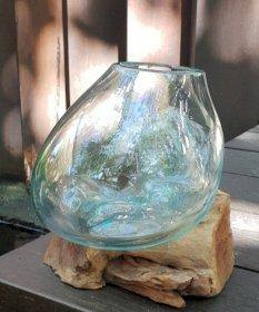 Molten glass on wood