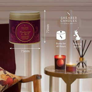 Shearer Candles Frankincense and Myrrh Large Scented Gold Tin Candle - Burgundy
