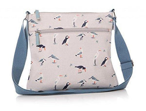 Half Moon Bay RSPB 60949 25cm x 28cm Oyster Catcher, Puffin and Seagull Matte Oilcloth Cross Body Messenger Bag Handbag Cream - Cordelia's House of Treasures