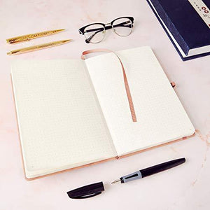 Dotted Notebook - Premium A5 Journal by Beechmore Books | Hardcover Vegan Leather, Thick 160gsm Cream Paper, Professional Bullet Notebook in Gift Box, 21 x 15 cm (Rose Wood)