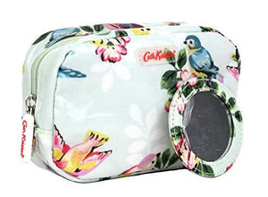 Cath Kidston Make Up Cosmetic Case with Mirror Spring Birds in Soft Aqua Oilcloth