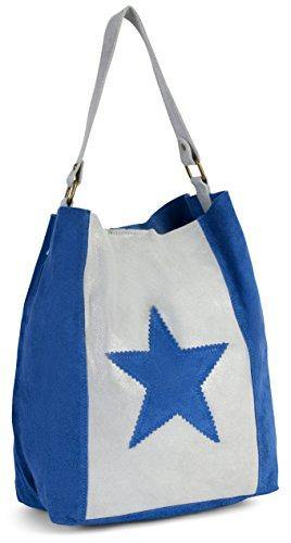 LIATALIA Womens Large Star Real Italian Suede Leather Single Shoulder Strap Hobo Slouch Shopper Handbag - SERENE [Royal Blue & Light Grey]