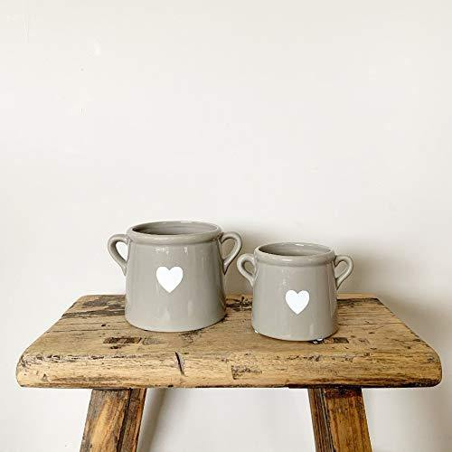 Gainsborough Giftware White Grey Ceramic pot with heart for plants or storage (Grey) - Cordelia's House of Treasures