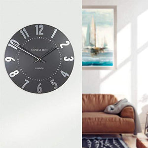 "Thomas Kent Mulberry Wall Clock in Graphite Silver 12"" London"