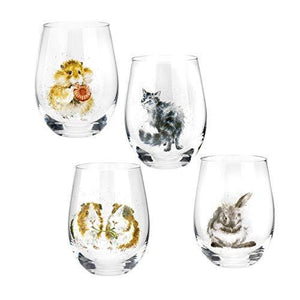 Royal Worcester Wrendale Designs Assorted Domestic Animals Tumblers Set of 4