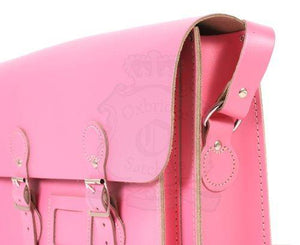 "13"" Pink Real Leather English Satchel - Classic Retro Fashion laptop/school bag"
