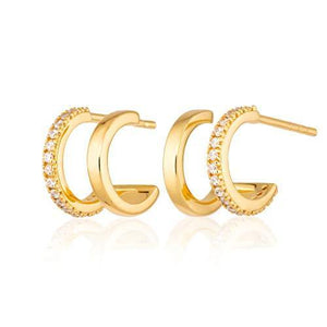 Scream Pretty - 18ct Gold Plated Double Huggie Hoop Stud Earrings with Clear Cubic Zirconia Stones