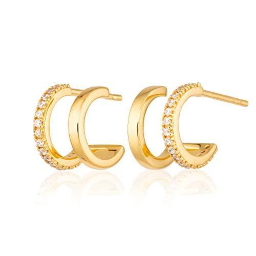 Scream Pretty - 18ct Gold Plated Double Huggie Hoop Stud Earrings with Clear Cubic Zirconia Stones - Cordelia's House of Treasures