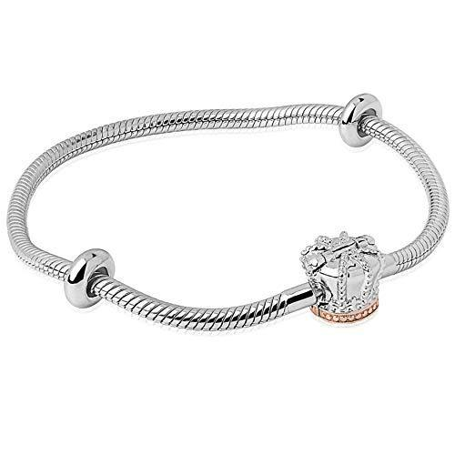 Clogau Womens 925 Sterling Silver and 9ct Rose Gold Royal Crown SMALL 17cm Milestone Charm Bracelet - Cordelia's House of Treasures