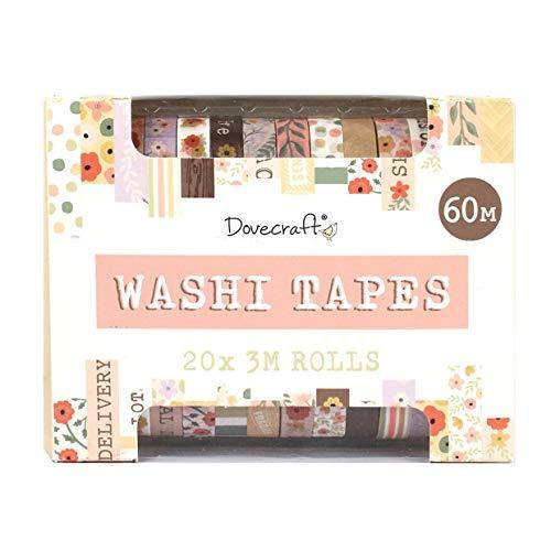 Dovecraft Washi Tape Box-20 Designs-Pastels-10mm Width-3m Rolls-Includes Storage Box-for Crafts, Stationery, Journaling, Home Decor, Paper, Multicolour, One Size