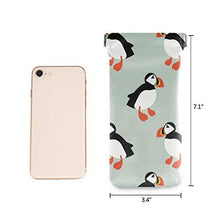 Moyyo Cartoon Puffin Seabird Eyeglasses Case Soft Portable Sunglasses Case Pouch PU Leather Wallet Glasses Case Travel Eyewear Eyeglasses Case Pouch for Women Men