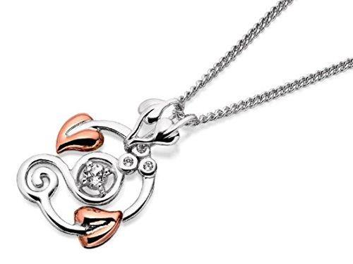 Clogau Womens Silver And 9ct Rose Gold White Topaz Origin Pendant Jewellery
