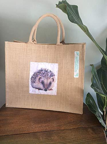 Hedgehog Bag Shopper Jute Gift Idea For Her