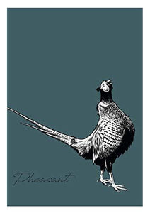 Pheasant and Crake Game Bird Wall Art Set in Blue and Green A3 A4 Poster Prints