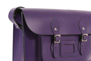 "12"" Deep Purple English Leather Satchel Classic Retro Fashion laptop/school bag"